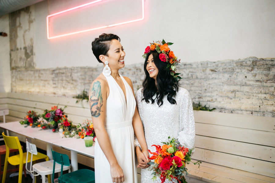 Mission Taqueria styled shoot :: colorful and fun same-sex elopement
